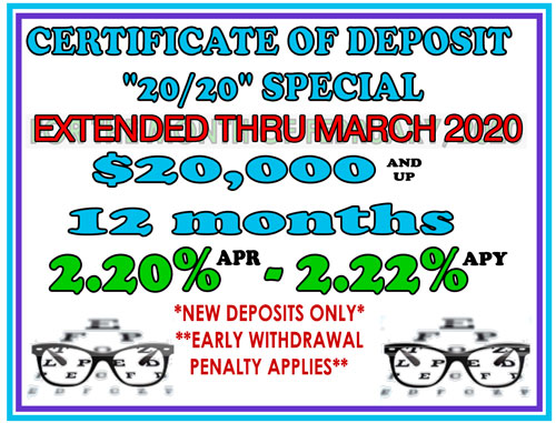 certificate of deposit 20-20 extended thru March 2020